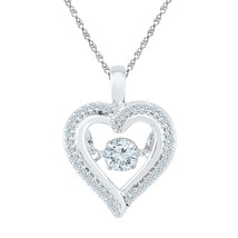 10k White Gold Round Moving Twinkle Diamond Heart Outline Pendant 1/4 Cttw - $360.00