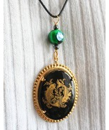 Judy Strobel Enchanting Vintage Black Glass & Green Art Glass Pisces Pendant  - $19.95