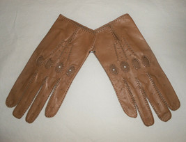 Mens Leather Driving Gloves by Freddy Paris Size 9 Brown Leather Vintage - $28.50