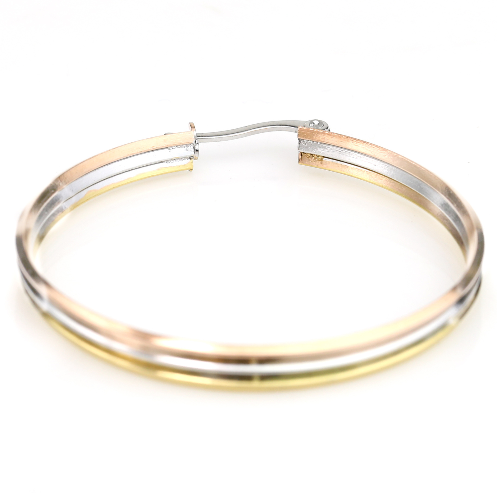 Stylish Tri-Color Silver, Gold & Rose Tone Hoop Earrings- United Elegance