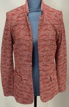Talbots Blazer Open Front Red Textured Wool Size 10 Fitted Pockets - $23.22
