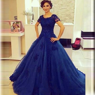 royal blue Prom Dresses,lace Prom Dress,A-line Prom Dress,charming Prom Dresses
