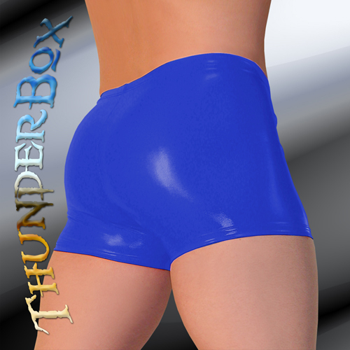 Primary image for Thunderbox GLOSSY BLUE PVC GLADIATOR Shorts  S-M-L-XL