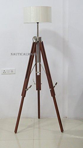 NauticalMart Wooden Tripod Stand Nautical Spot Light Floor Lamp Decor - $127.71