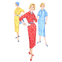 50s Vintage Simplicity Sewing Pattern 2227 Juniors Chemise Dress Wing Co... - $6.95