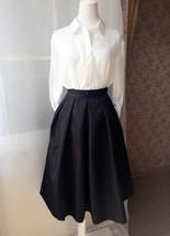 Elegant Black Taffeta Pleated Skirts Tea length Black Tea Skirts High Waist NWT image 3