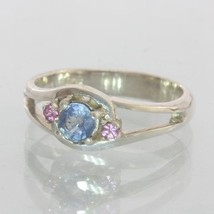 Natural Blue and Pink Sapphires Handmade Sterling Silver Ladies Ring size 7.25 - £76.54 GBP
