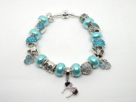 Silver & Aqua Blue Disney European Murano Beaded Bracelet. Gift bag incl... - $19.95