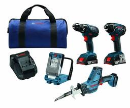 NEW Bosch CLPK496A-181 Cordless 4-Tool Combo Kit 18V Drill, Driver, Saw, Light - $284.92