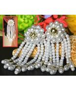 Vintage Faux Pearl Dangle Earrings Beaded Flower Bridal Wedding Clip - $17.95