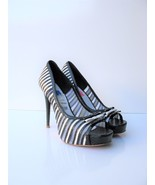 Platform Pumps Betsey Johnson Deandra Black White Peep Toe Heels  7.5 $1... - $33.66