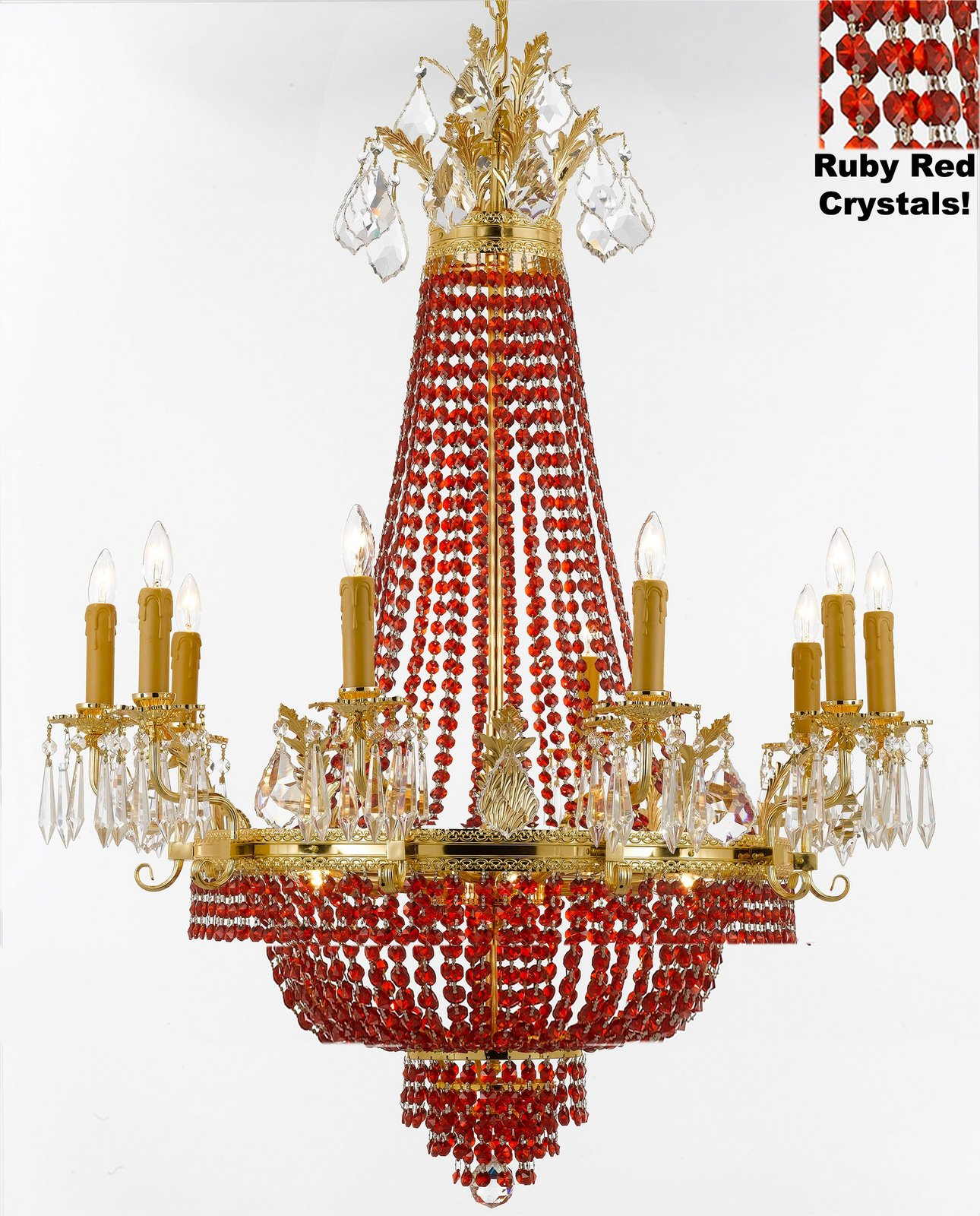 French Empire Crystal Chandelier Chandeliers H32 W25 Dressed With Ruby Red Cry