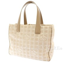 CHANEL Tote Bag MM Nylon Jacquard Calf Beige New Travel Line A15991 Auth... - $439.69