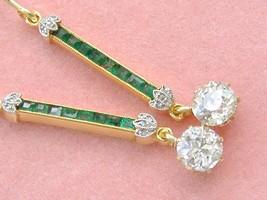 ANTIQUE ART DECO 1.2ctw DIAMOND .4ctw EMERALD LINE DROP 18K WIRE EARRING... - $3,266.01