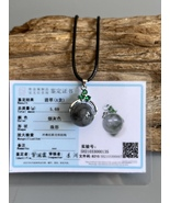 Grade A Ink Jadeite Jade whirling Lucky Ball Necklace - $115.00