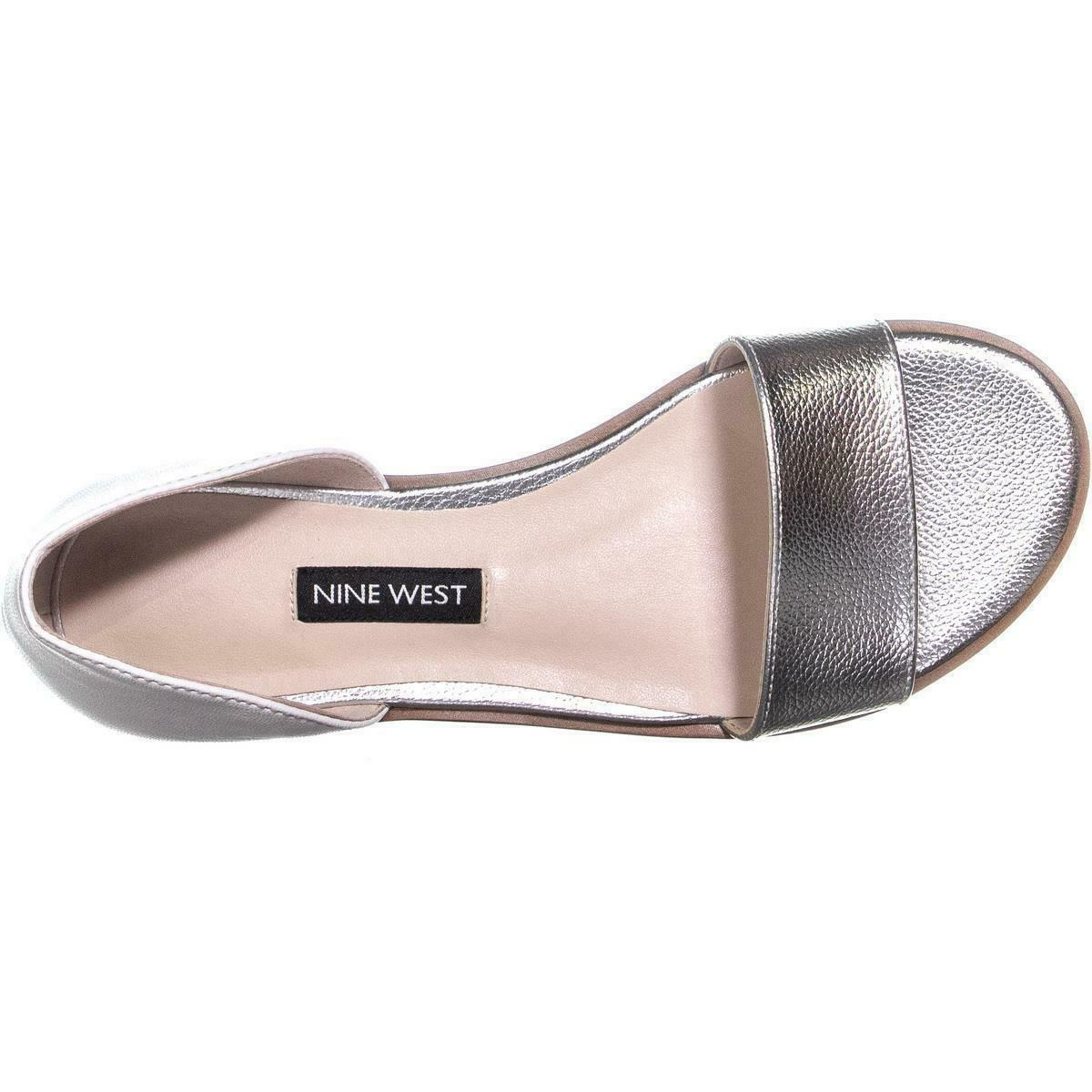 Nine West Maris Slip On Flat Sandals, White/Silver, 5 US