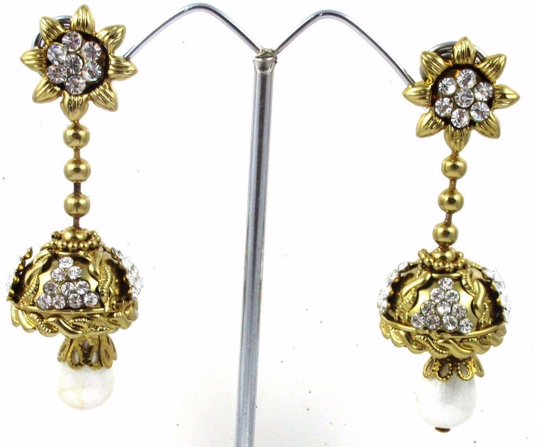 Indian Ethnic Antique Pearl Women's Fashion Jewelry Drop CZ Earrings