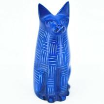 Vaneal Group Hand Carved Kisii Soapstone Blue Sitting Kitty Cat Figure Kenya