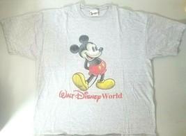 Walt Disney World Retro Mickey Mouse T-Shirt Tee Size XL Gray Made in USA - $14.54