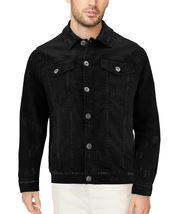 Men's Classic Distressed Casual Button Up Stretch Jean Trucker Denim Jacket image 5