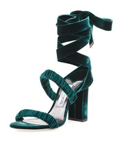 Jimmy Choo Marcella Velvet Ankle-Wrap Sandal, Green $795.00 Size 36 - $494.01
