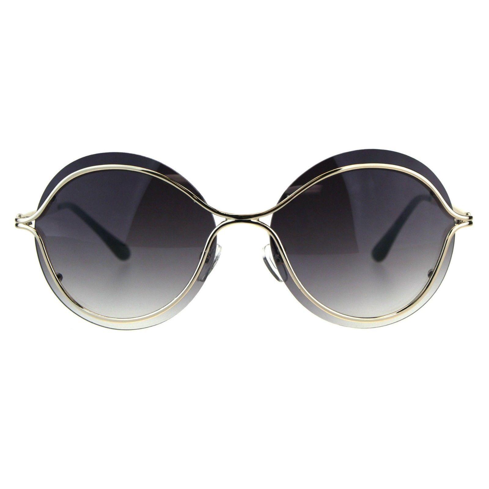 Womens Round Sunglasses Unique Gold Metal Rims Over Lens UV 400
