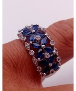Blue Sapphire 1.69 Ct Womens Ring Set in Sterling 925 Silver Jewellery R... - $228.33