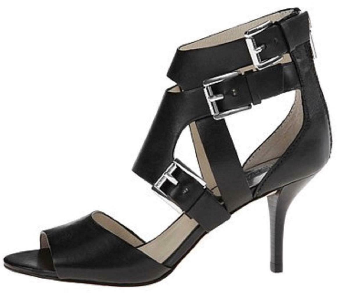 Women's Michael Kors LUCINDA OPEN TOE Heels Sandals Leather Black or Luggage image 2
