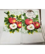"""2 SAME PRINTED VELOUR KITCHEN TOWELS 15"""" x 25"""", 2 & HALF APPLES by BH - £7.51 GBP"""