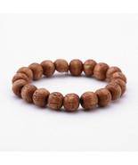 Brown Wood Round Beads Buddha Bracelets Letter Scripture Elastic Braclet... - $11.79
