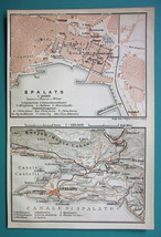 1905 MAP Baedeker - CROATIA Spalato Split City Plan - $6.71