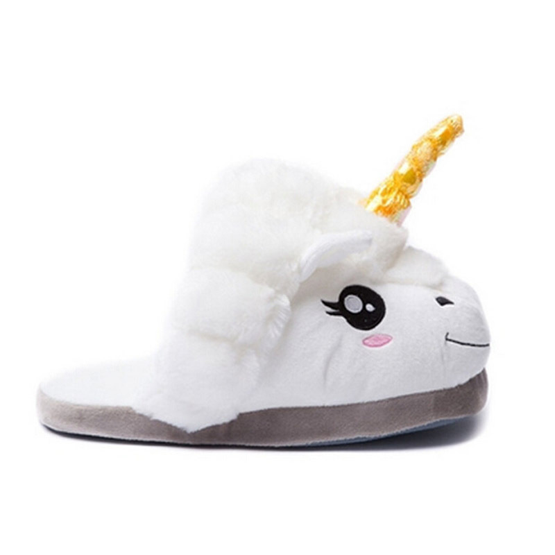 XiaGuoCai New Arrival Unicorn Slippers Winter Warm Plush Shoes Indoor Home Slipp