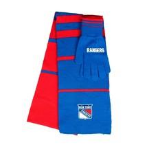 NEW YORK RANGERS KNIT SCARF & GLOVES SET STRIPE TEAM COLORS NHL BRAND NE... - $17.99