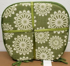"""Set of 4 CHAIR PADS CUSHIONS w/strings, WHITE FLOWERS ON GREEN, 15"""" x 15... - $23.75"""