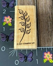 Stampin' Up! Leaf Branch Plant Rubber Stamp 2001 Wood Mount #N126 - $2.23