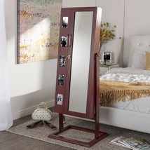 Volek Contemporary Brown Square Foot Floor Standing Double Door Beauty And - $282.15