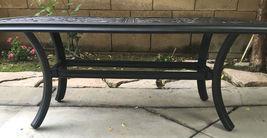 Outdoor Coffee Table Rectangular Patio Cast Aluminum Furniture Desert Bronze image 4