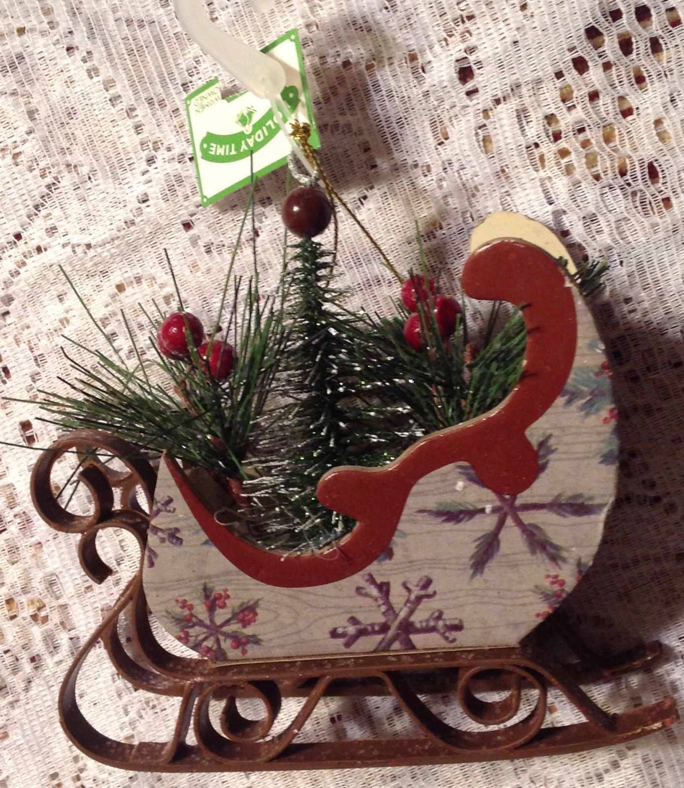 Christmas Ornament Sleigh Filled with Pine Boughs Tree Holly (6 Pack)