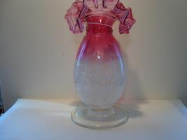 "Fenton cranberry to white 8 "" splatter glass vase. - $35.00"
