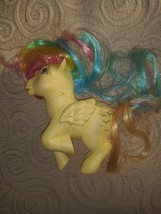 My Little Pony SKYDANCER Yellow Rainbow Pegasus Pink Eyes Vintage G1 BE7... - $12.86