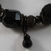 925 STERLING SILVER BURNISH ELASTIC BRACELET WITH BLACK ONYX NUGGETS AND SPHERES image 3