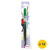 Pentel Arts104 Refillable Calligraphy Fude Color Brush Pen (12pcs) - Green - $55.13