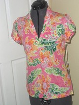 Caribb EAN Joe Knit Top Shirt Size S - Ps - Pm Pink Floral Lightweight MSRP:$34 - $15.98