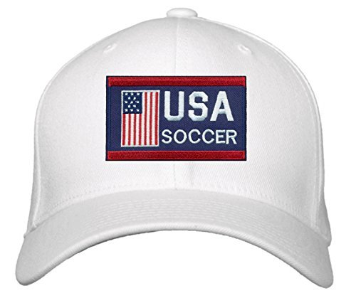 USA Soccer Hat - Adjustable White Cap - Olympics Red/White/Blue America