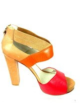 Nine West Stylin Women 8M Leather Multi Color Open Toe Platform Chunky H... - $6.76