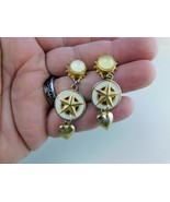 Dangle Earrings Gold Tone White Enamel With Hearts Post Vintage        ... - $9.89