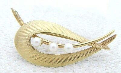 Primary image for VTG 1950'S UNCAS CURTIS CREATION 1/20 12k Gold Filled Pearl Pin Brooch