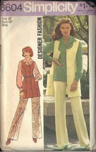 Simplicity 6604 size 18 dated 1974 misses vest, pants, blouse - $3.90