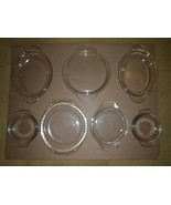 Vintage Pyrex Lot of Misc Mixed Clear Glass Tab Handle Covers Lids  - $23.36