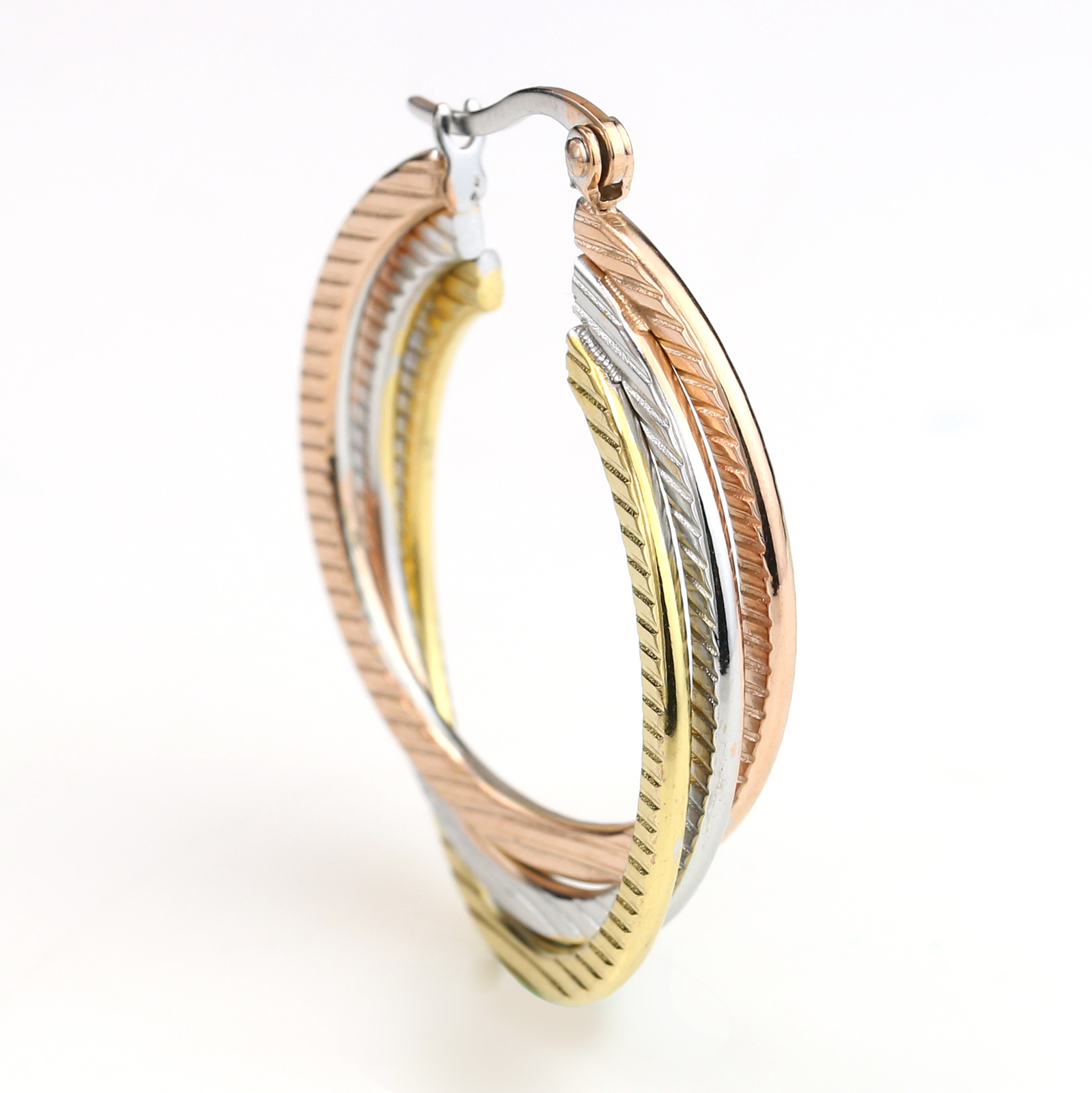 Twisted Tri-Color Silver, Gold & Rose Tone Hoop Earrings-United Elegance image 2